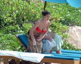 Gemma Atkinson in red bikini at the beach in Cuba